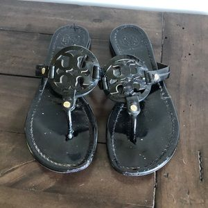 Tory Burch Black patent leather millers